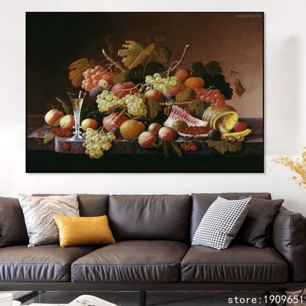 EBONP Quadro su Tela murale Stampa su Tela Nessuna Cornice Classica Natura Morta Scenario di Frutta Pittura su Tela Stampa Poster su Immagini di Decorazioni murali-20x28inch