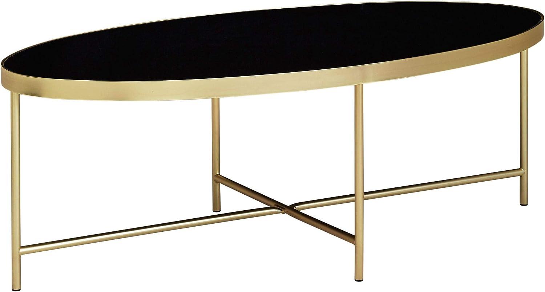 FineBuy Design Couchtisch Glas Schwarz - Oval 40 x 40 cm mit Gold