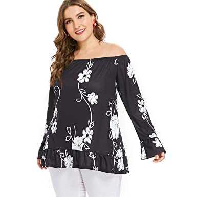 5ccaa14133 iDeesse Women s Plus Size Flare Sleeve Off The Shoulder Floral Flounce  Blouse at Amazon Women s Clothing store