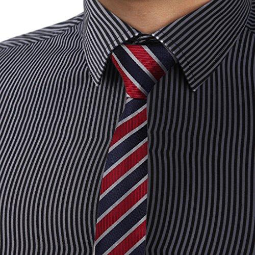 Dan Smith Stripes Slim Necktie Microfiber Skinny Tie Fitness Fabric With Free Gift Box