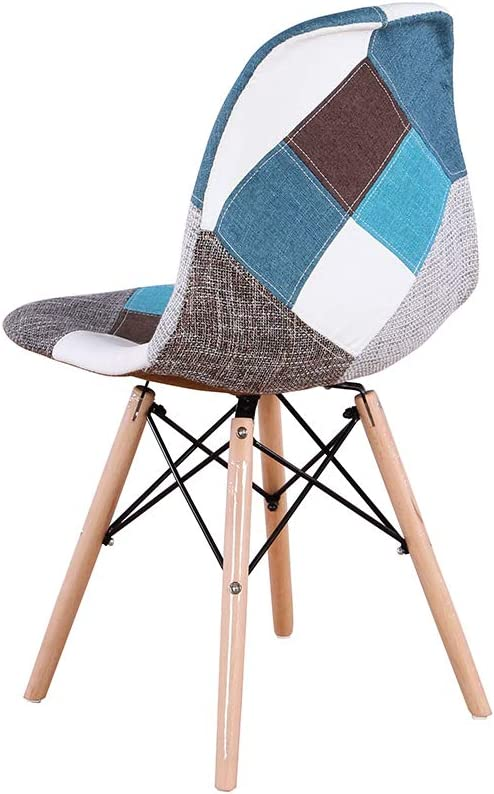 GroBKau Set of 4 Mid Century Modern Dining Chairs Patchwork Fabric Upholstered Side Chair with Dowel Wood Base; Ideal for Living Room Waiting Room etc. Cafe Black Dining Room