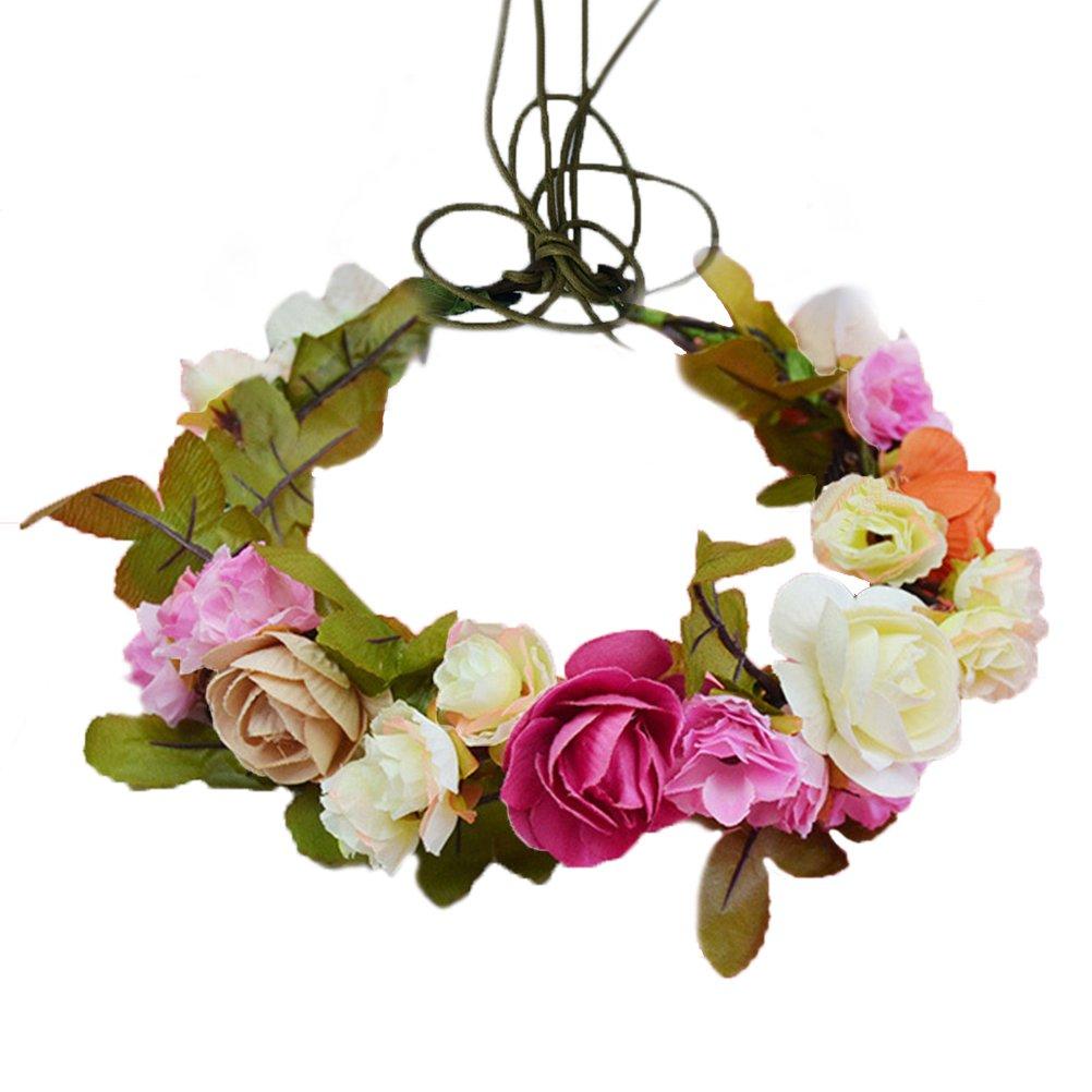 Vivivalue Handmade Flower Headband Hair Wreath Halo Floral Garland