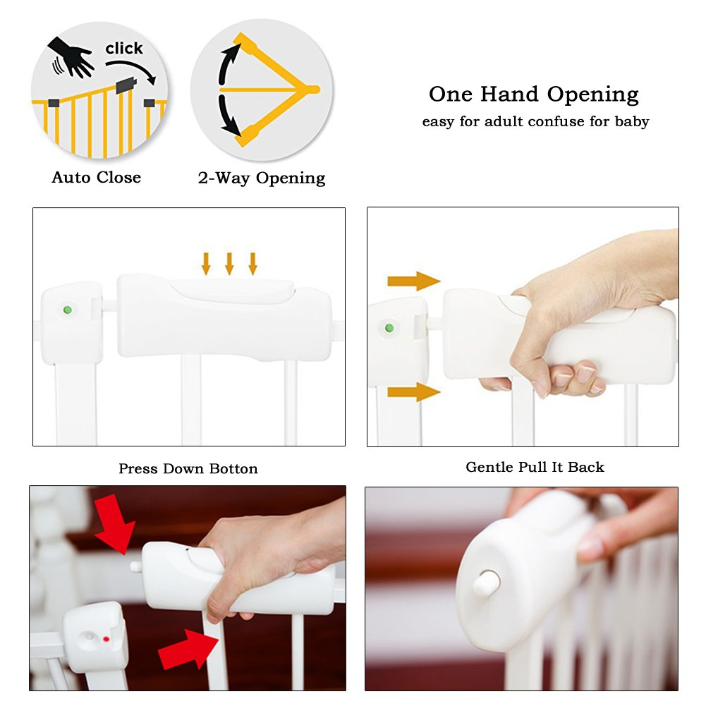 Fairy Baby Narrow Baby Gate for Stairs Walk Through Easy Auto Close White Child Safety Gate,Fits Spaces Between 48.0'' and 52.75'' Wide,White (3-7 Days delivery)) by Fairy Baby (Image #6)