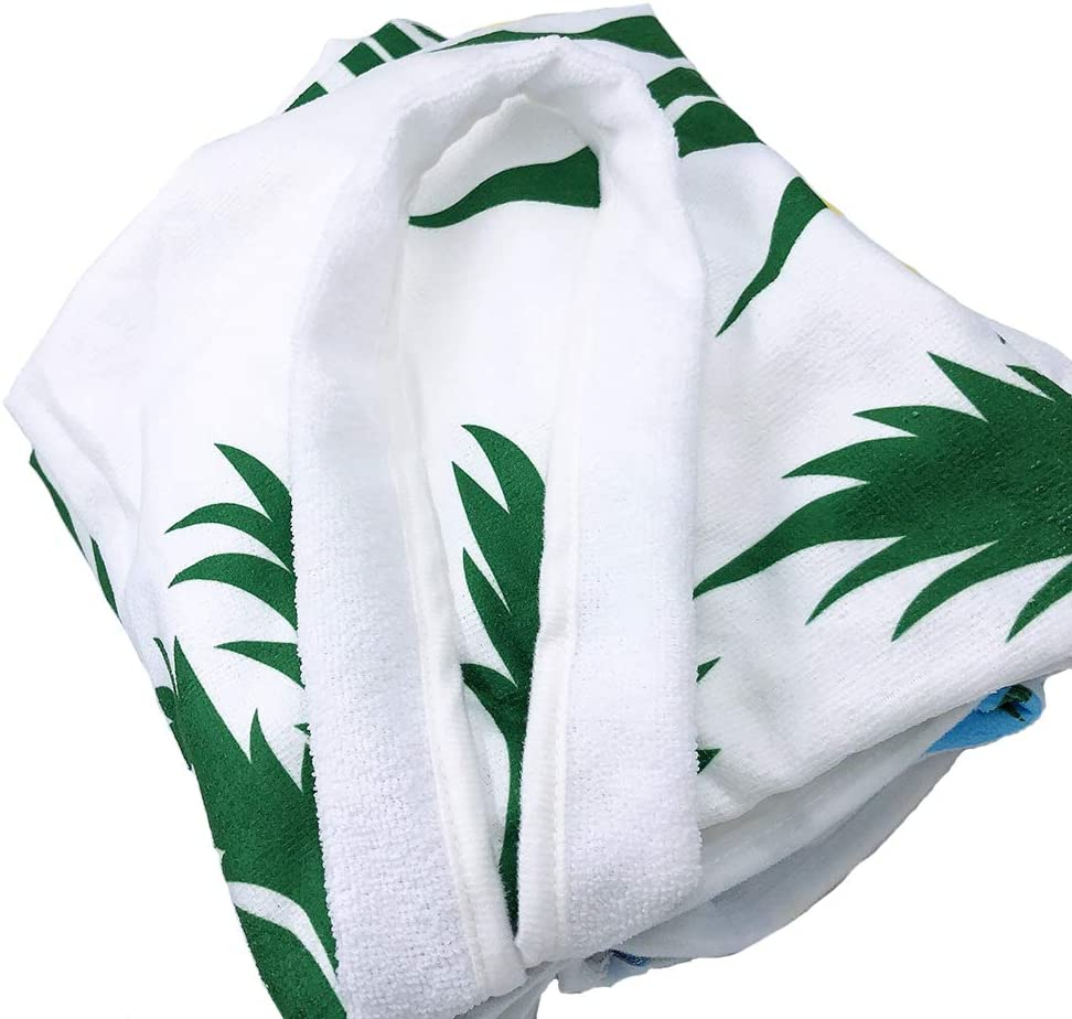 """Lmeison Beach Chair Cover Green Leaves, 2Pack Microfiber Chaise Lounge Towel with Storage Pockets for Pool, Sun Lounger, Hotel, Vacation, Holidays Sunbathing, No Sliding (84.6"""" x 29.5""""): Kitchen & Dining"""