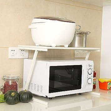 PENGFEI Estantes para soportes Estantería Cocina Baldas Horno Microondas Horno Blanco, 2 Capas, 57