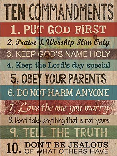 Ten Commandments Wood Look 12×15 Wall Plaque