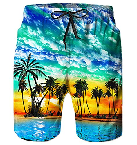Alistyle Mens 3D Hawaiian Print Short Funny Lounge Wear Pants Summer Casual Vacation Jogger Surfing Trunks XXL