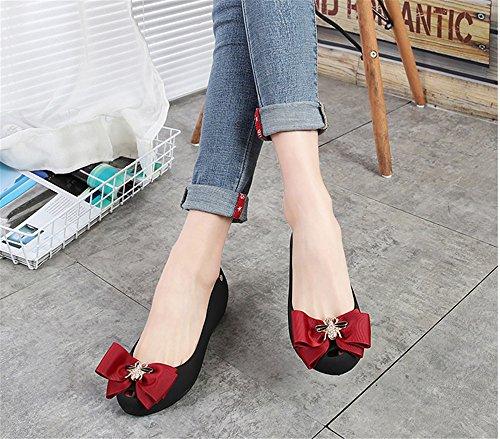 Colorful On Waterproof Jelly pit4tk Black Women's Sweet Flats Shoe Red Toe Peep Shoes Slip qvfqgIw