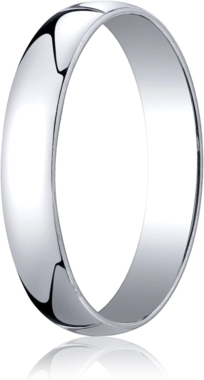 Mens 14K White Gold 4mm Low Dome Light Comfort Fit Wedding Band Ring