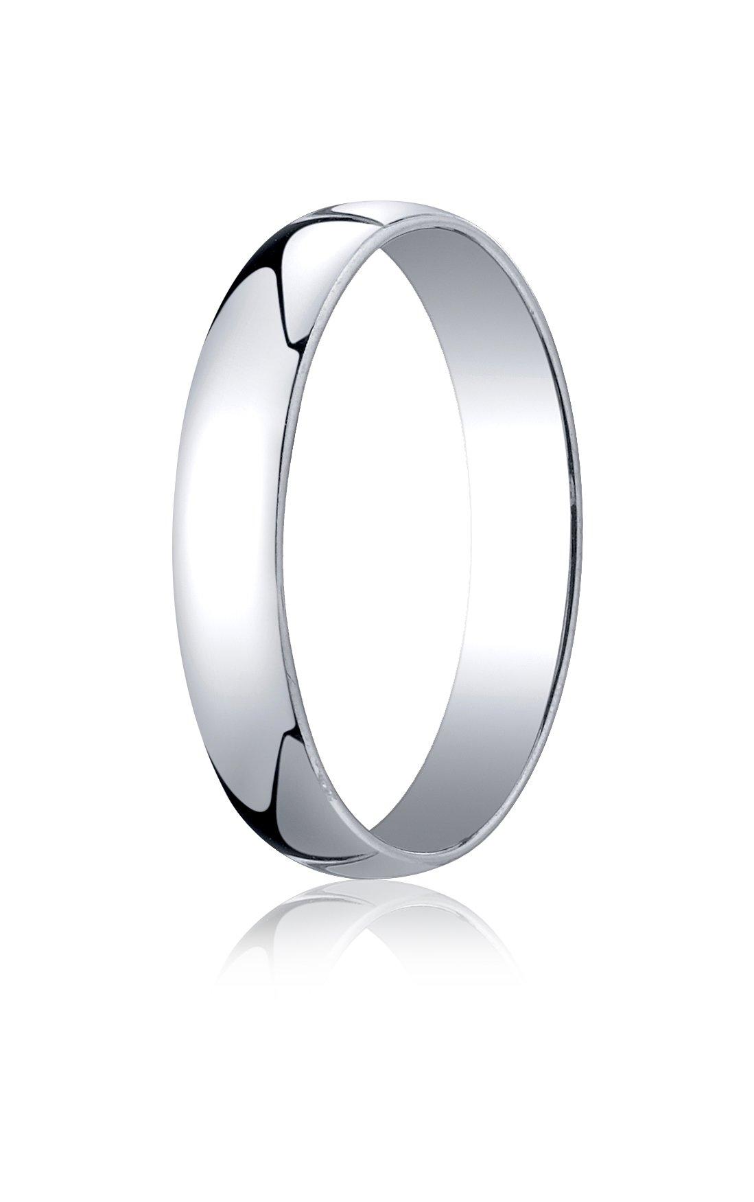 Mens 14K White Gold, 4.0mm Low Dome Light Ring (sz 11.5)