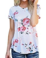 DondPO Womens Short Sleeve T-Shirt Flower Printed Blouse Casual Tops T Shirt Round Neck