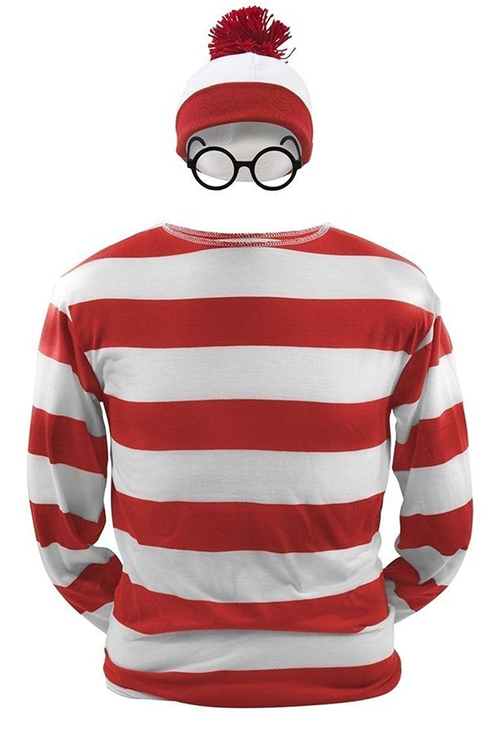 Where's Waldo Now Costume Funny Sweatshirt Hoodie Outfit Glasses Hat Cap Suits,Parent-Child Costumes