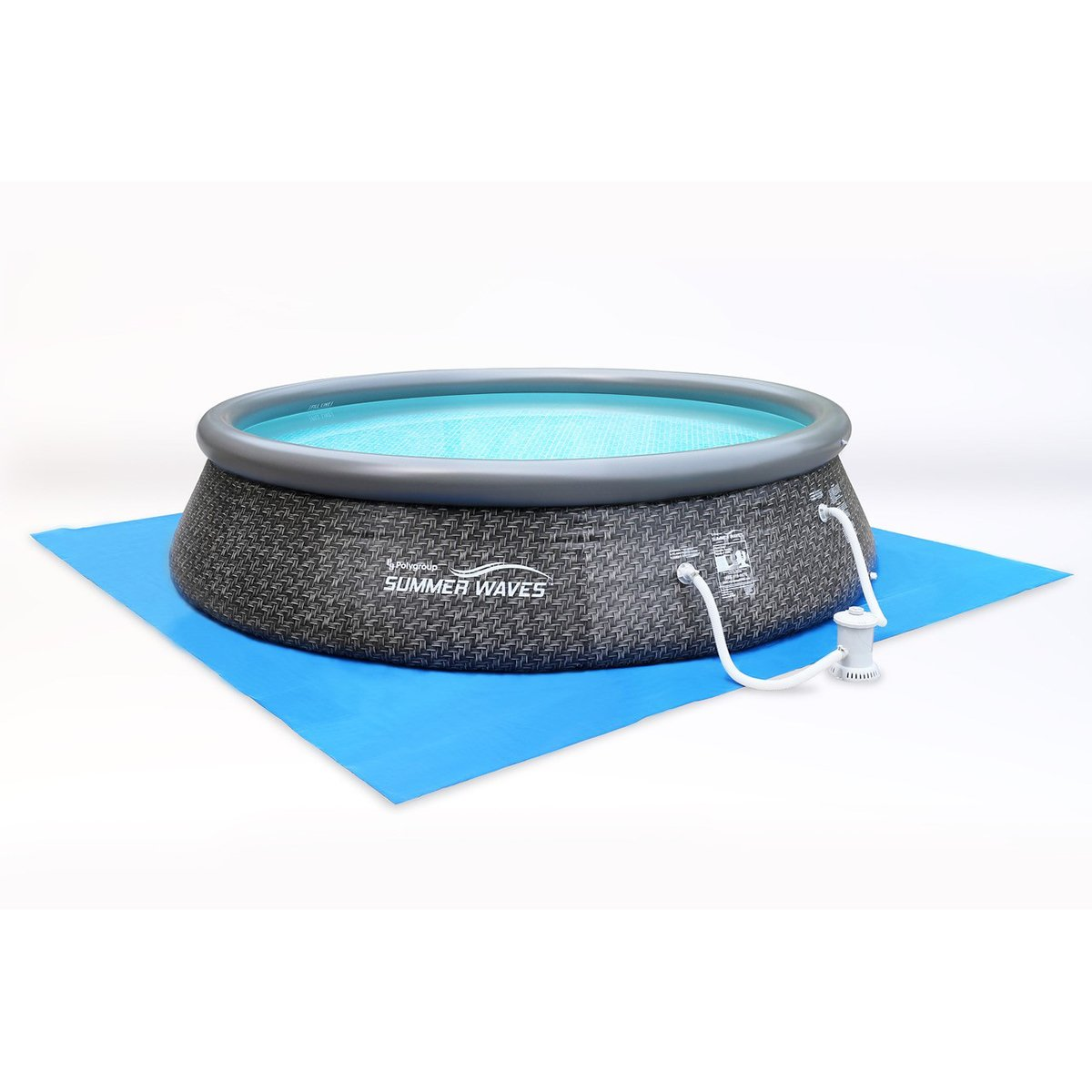 SUMMER WAVES 12-Foot Quick Set Inflatable Ring Pool Filter Pump