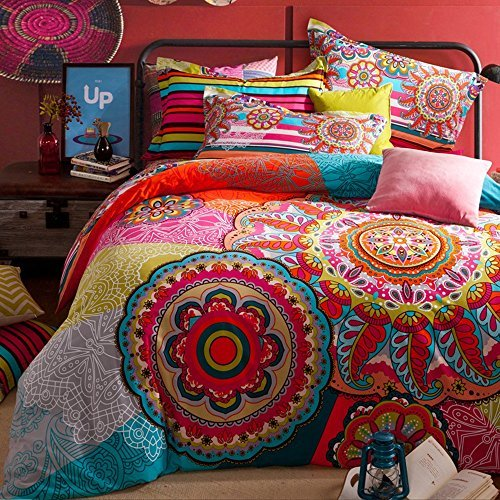 TheFit Paisley Textile Bedding for Teenager Girls and Boy U686 Leaf Multi Color Boho Duvet Cover Set 100% Sanding Cotton, Queen King Set, 4 Pieces (King) by TheFit
