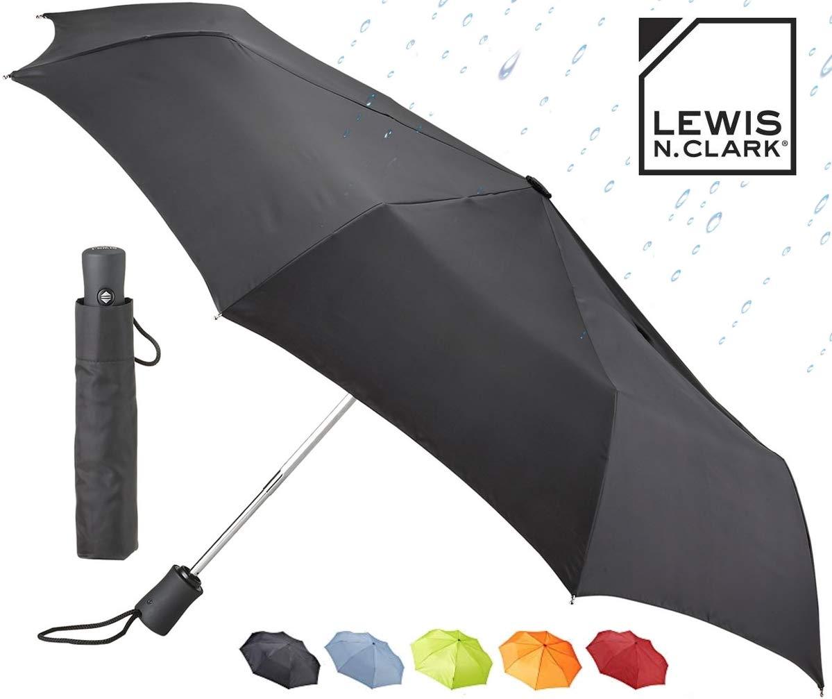 Lewis N. Clark Windproof and Water Repellent Travel Umbrella, Black