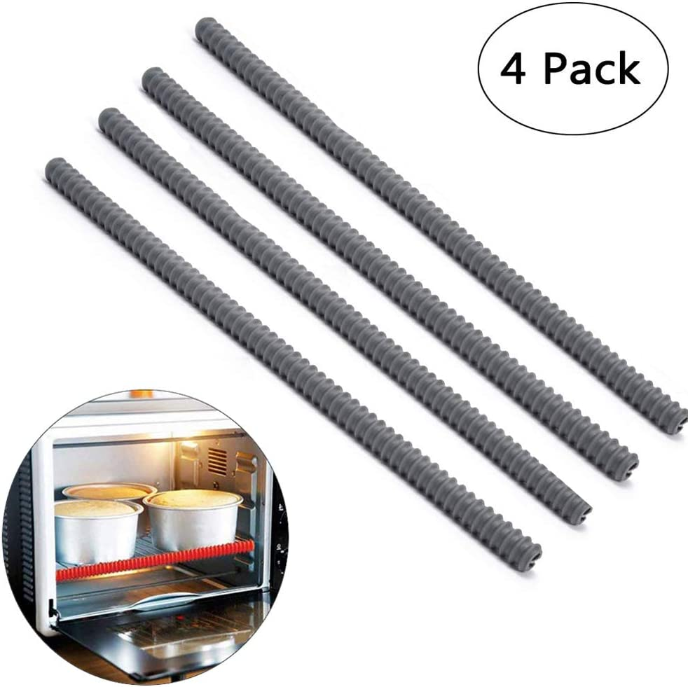 Silicone Oven Rack Shields - Portable 4 Pack Heat Resistant Silicone Oven Rack Cover 14 inches Long Oven Accessories Rack Edge Protector, Protect Against Burns and Scars (Gray)