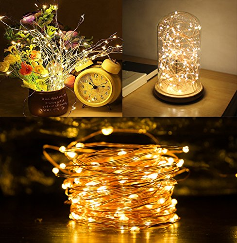 LED String Lights, AllBlue Fairy String Lights, Waterproof 39ft 120 LEDs Copper Wire LED String Lights Indoor Outdoor for Christmas Bedroom Home Party Decoration with 12V DC Power Adapter - Warm White