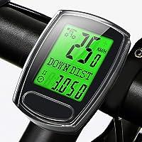 IPSXP Compteur Velo, Multifonction étanche Vélo Compteur de Vitesse et Odomètre avec Rétroéclairage LCD D'affichage de L'écran Noir