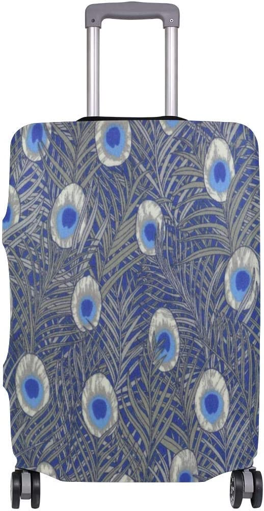 Promini Blue Tana Peacock Feather Travel Luggage Cover Suitcase Protector Washable Baggage Covers Spandex Elastic Dustproof 18-32 Inch