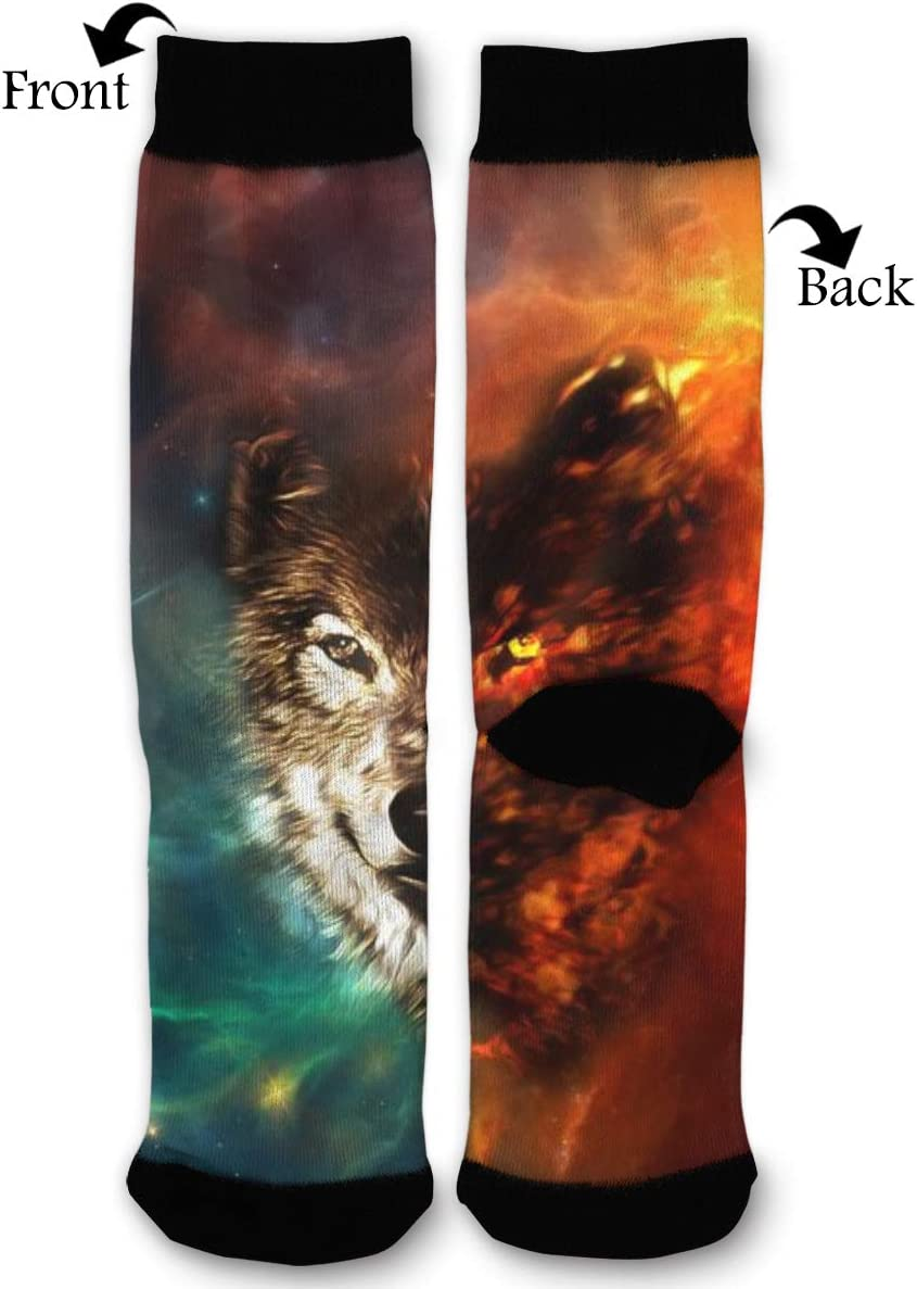 BLongTai Knee High Compression Socks Meteoric Star Wolf Space for Women and Men Sport Crew Tube Socks