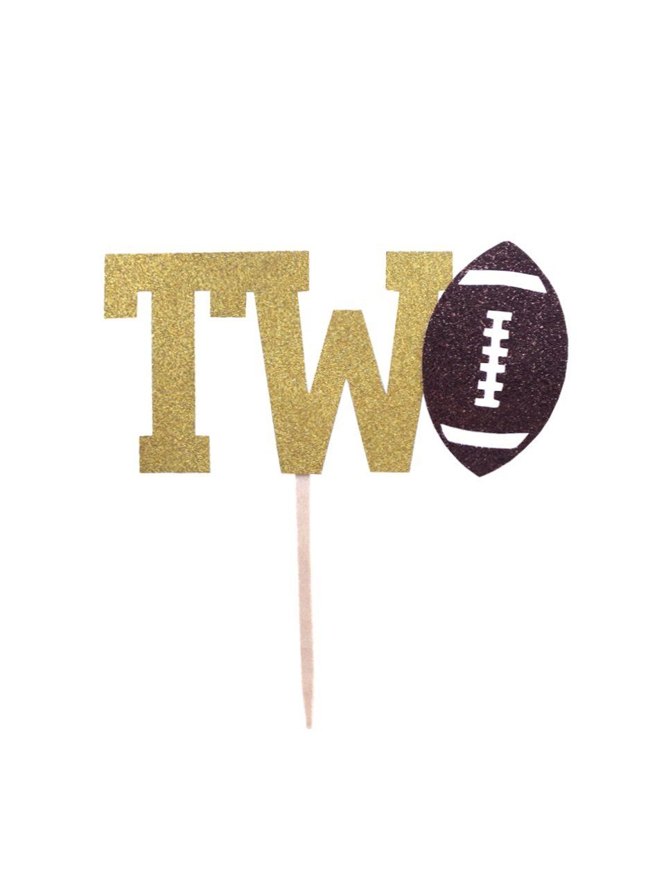 1 pc TWO football theme cake topper second birthday for boy girl