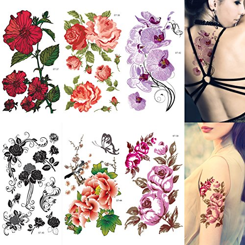 Supperb Mix Flower Temporary Tattoos Ii / 6-pack Floral Tattoo -