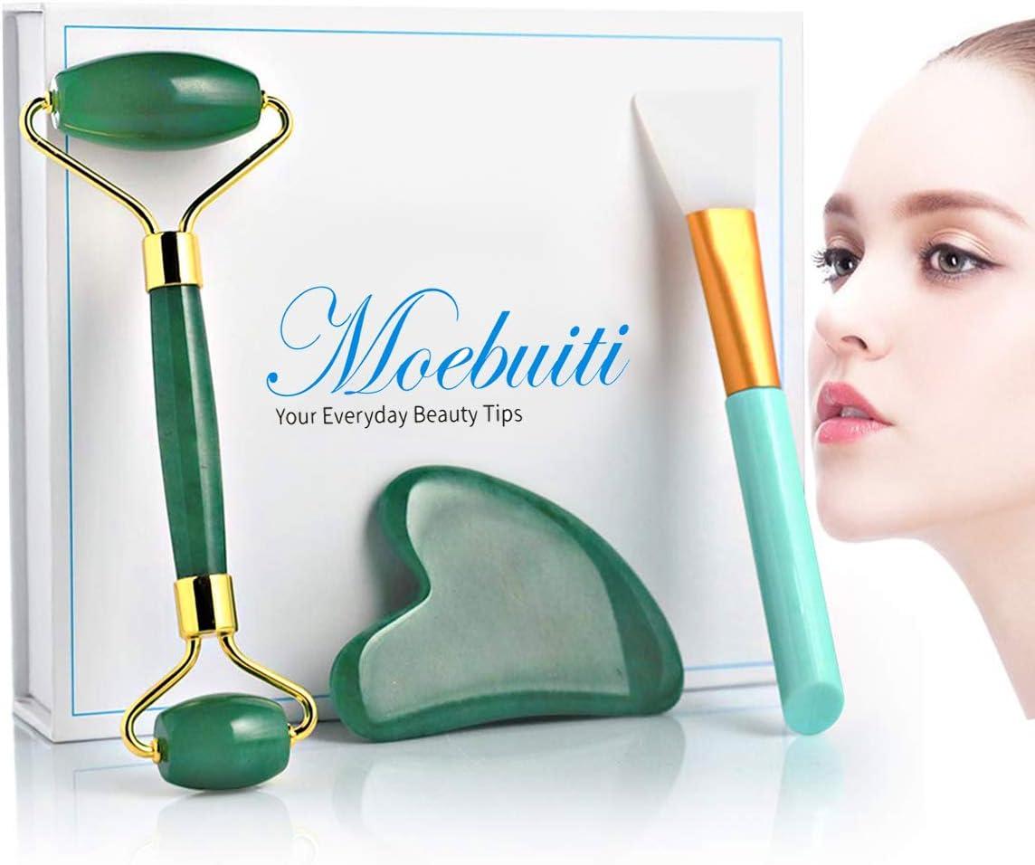 Moebuiti Jade Roller, Face Roller, Skin Massage Set