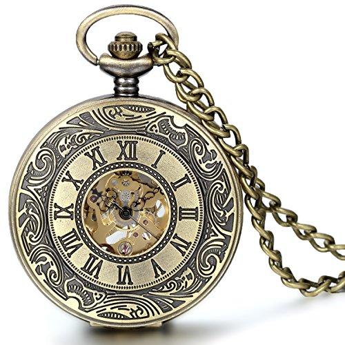 Antike taschenuhr mit kette  JewelryWe Retre Steampunk Römische Ziffern Handaufzug Mechanische ...