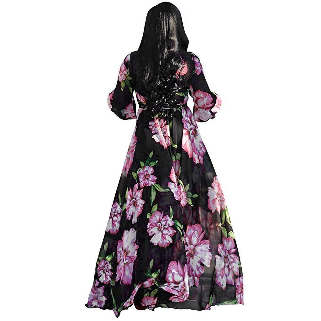 LSAltd Mode Frauen b/öhmischen Blumendruck Kreuz v-Ausschnitt laterneh/ülse Chiffon Maxi Dress mit Taille g/ürtel