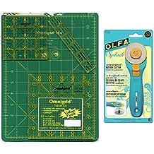 Omnigrid Cutting Mat 8 3/4 inch x 12 3/4 inch, 3 Omnigrid Rulers and 1 Olfa Splash 45mm Rotary Cutter Travel Bundle, 5 Items