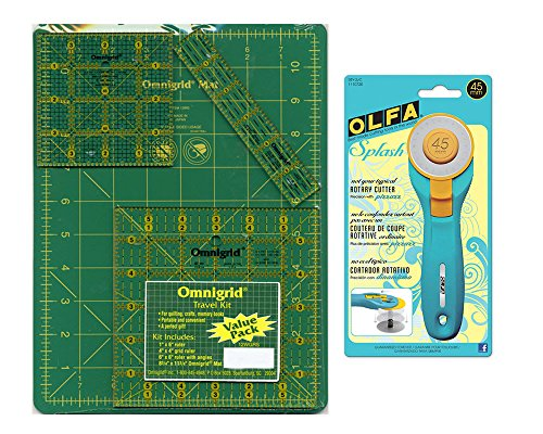 Omnigrid Cutting Mats - Omnigrid Cutting Mat 8 3/4 inch x 12 3/4 inch, 3 Omnigrid Rulers and 1 Olfa Splash 45mm Rotary Cutter Travel Bundle, 5 Items