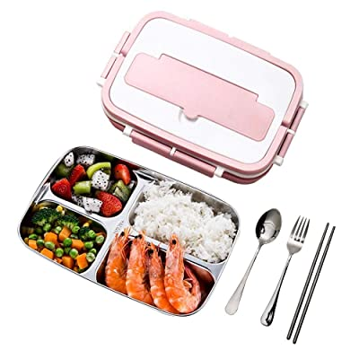 Besthls Bento Box, Pink Lunch Box 4 Compartment, 304 Stainless Steel Lunch Box Containers for Kids and Adults, Leak Proof BPA-Free Lunch Bento Bonus Scoop Fork Chopsticks: Kitchen & Dining
