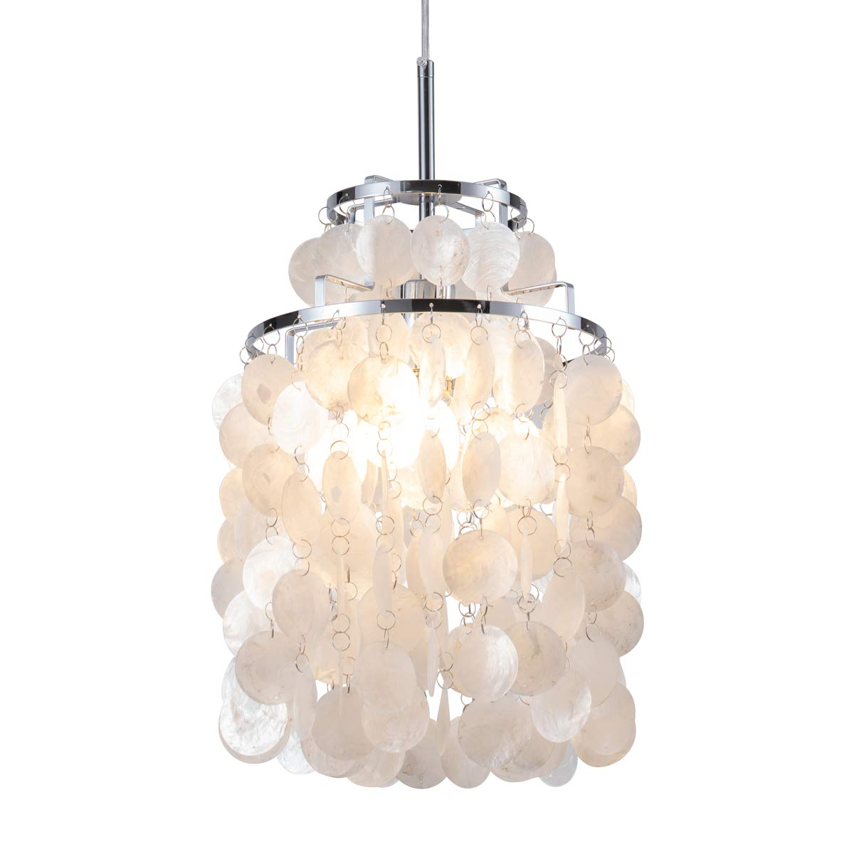 Modern capiz pendant light modern coastal shells drops chandeliers