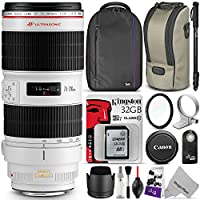 Canon EF 70-200mm f/2.8L IS II USM Telephoto Zoom Lens w/ Essential Photo Bundle - Includes: Altura Photo Backpack, Monopod, UV Protector, Kingston 32GB C10 SD Card, Camera Cleaning Set