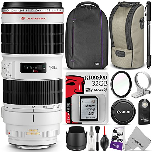 Canon EF 70-200mm f/2.8L IS II USM Telephoto Zoom Lens w/ Essential Photo Bundle – Includes: Altura Photo Backpack, Monopod, UV Protector, Kingston 32GB C10 SD Card, Camera Cleaning Set