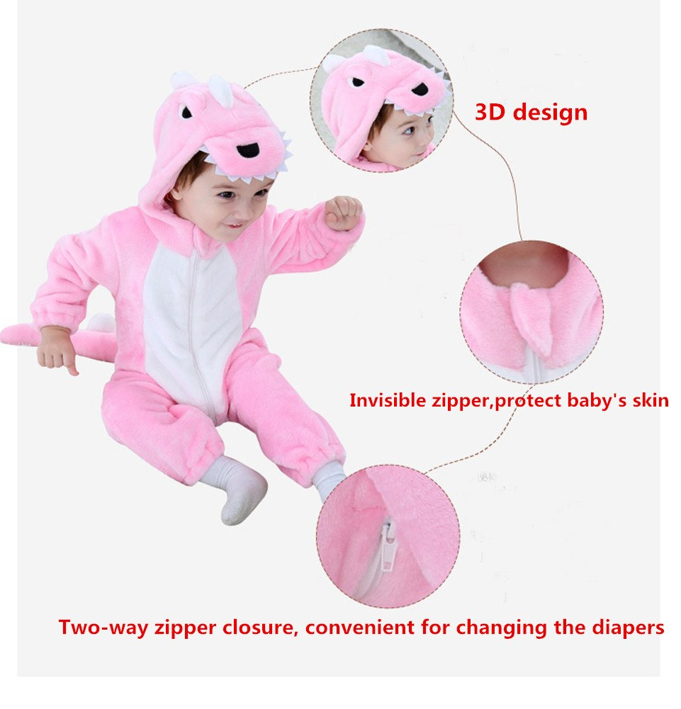 Tonwhar Toddler Infant Tiger Dinosaur Animal Fancy Dress Costume (70(Height:22''-26''/Ages 0-6 Months), Pink) by Tonwhar (Image #2)