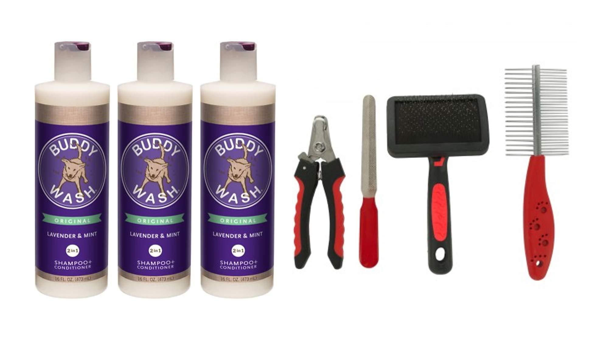 Cloud Star Buddy Wash Dog Shampoo and Conditioner (3) 16 oz Bottles Plus 1 Dog Brush by Cloud Star