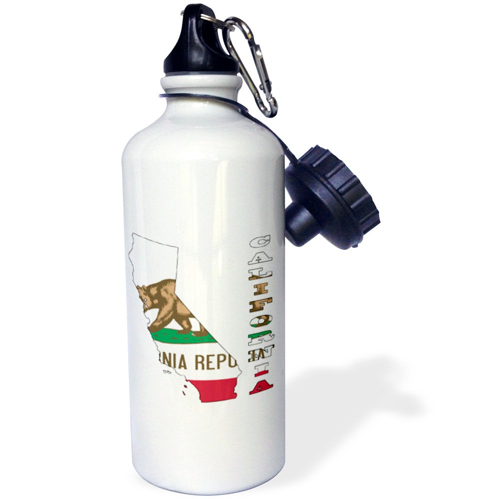 21 oz 3dRose wb/_58723/_1California state flag in the outline map and letters of California Sports Water Bottle White