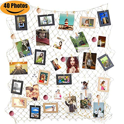 ZUEXT Photo Hanging Display Frames w/ 40 Clips & Sea Shells, 79x40 Inch Nautical Themed Mediterranean Fishing Net Photo Wall Decor, Picture Cards Artworks Organizer for Dorm, Home, Party Decorations