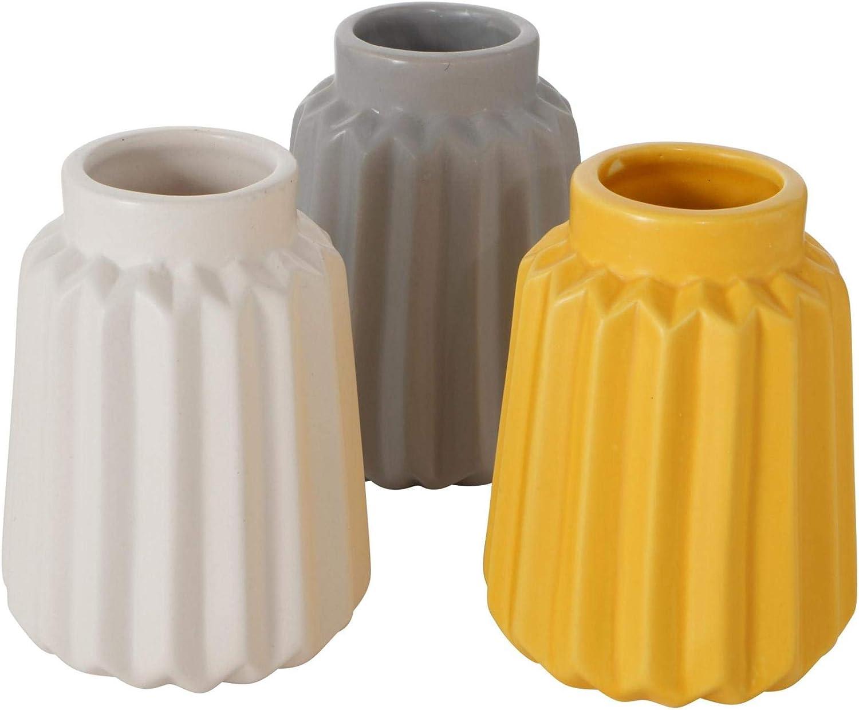 CasaJame 3 x Macetas - Jarrones de Mesa de Cerámica para Plantas - Jardineras de Porcelana con Estructura en Relieve - Terracota Blanco Gris Amarillo Altura 10cm, Ø 8cm