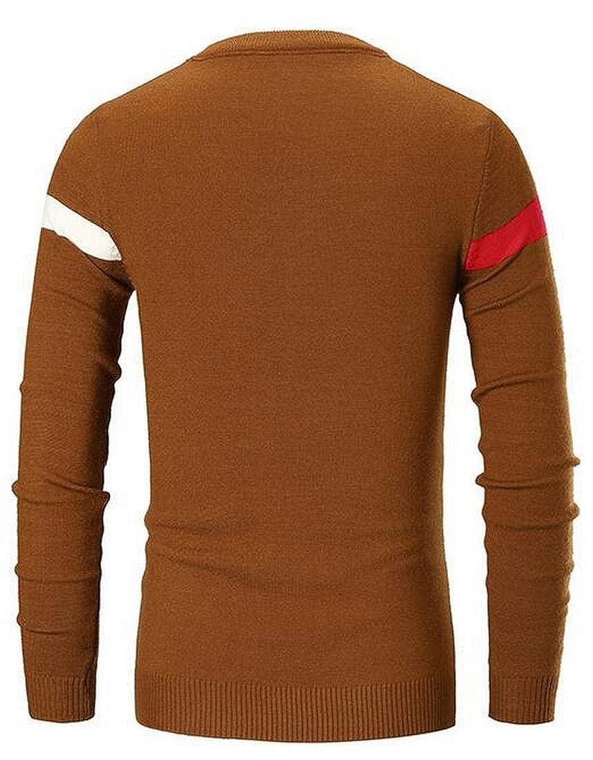 YYG Mens Contrast Regular Fit Fall /& Winter Round Neck Knit Pullover Sweater Jumper