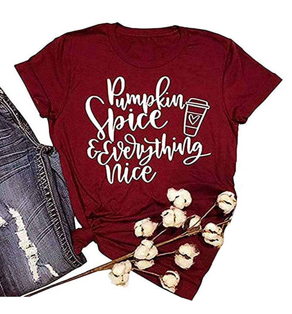 3e4e5aed0 Amazon.com: ALLTB Thanksgiving Pumpkin Spice and Everything Nice Latte T  Shirts Womens Letter Printed Fall Graphic Tee Shirt Tops: Clothing