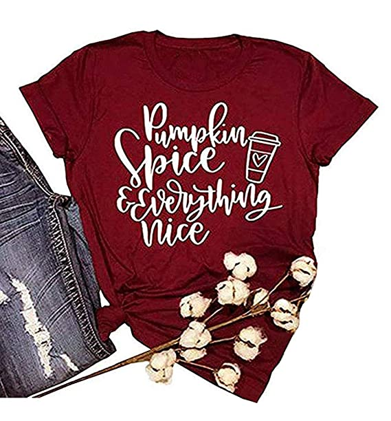 517317d1d Image Unavailable. Image not available for. Color: ALLTB Thanksgiving  Pumpkin Spice and Everything Nice Latte T Shirts Womens Letter Printed Fall  Graphic ...