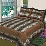 Fancy Collection 3pc Bedspread Bed Cover Tiger Skin Brown (King)