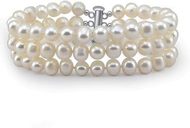 6-7mm Color Crema agua dulce perlas Stud Earring