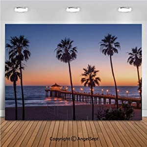 10x7ft Vinyl Manhattan Beach Pier at Sunset Los Angeles California Photo Backdrop for Kids Girl Boy Birthday Party Decorations Photography Studio Props