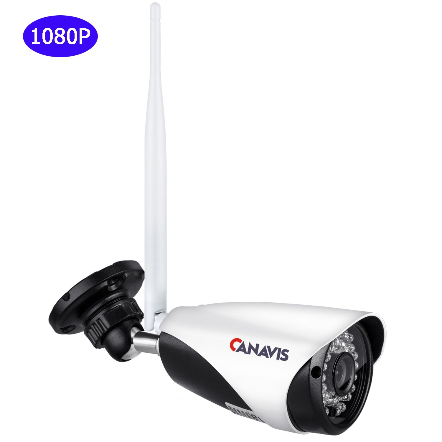 CANAVIS 1080P 2.0MP Megapixel Wifi Wireless Bullet Camera with IR Cut 3.6mm Lens 65ft Night Vision for Home Security CCTV Camera System