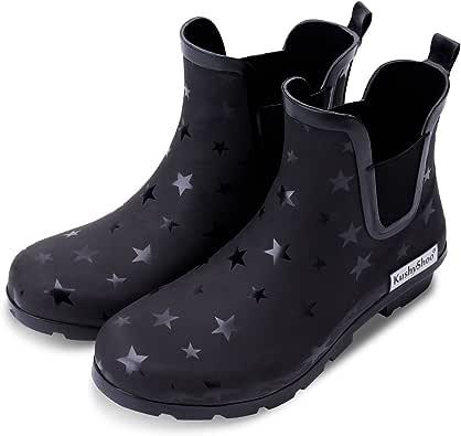 KushyShoo Womens Ankle Rain Boots, Matte and Light Rubber Elastic Rain Booties