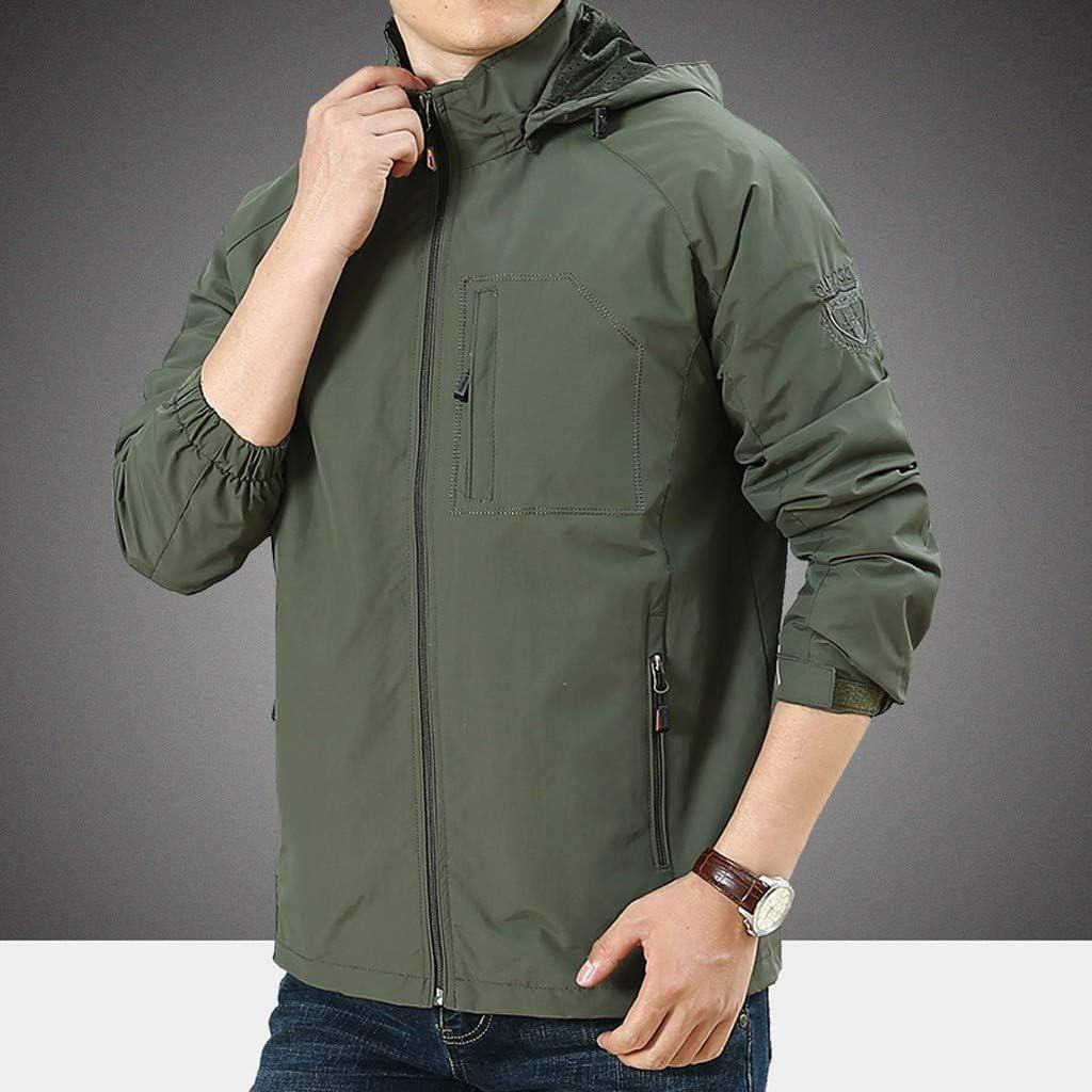 Casual Autumn Winter Thin Outdoor Mountaineering Coat OMINA Mens Windbreaker Jackets with Hood