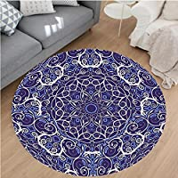 Nalahome Modern Flannel Microfiber Non-Slip Machine Washable Round Area Rug-or Kaleidoscope Circular Pattern Floral Modern Bohemian Artprint Blue White and Dark Blue area rugs Home Decor-Round 32